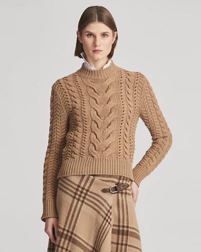 Suede-Laced Mockneck Sweater