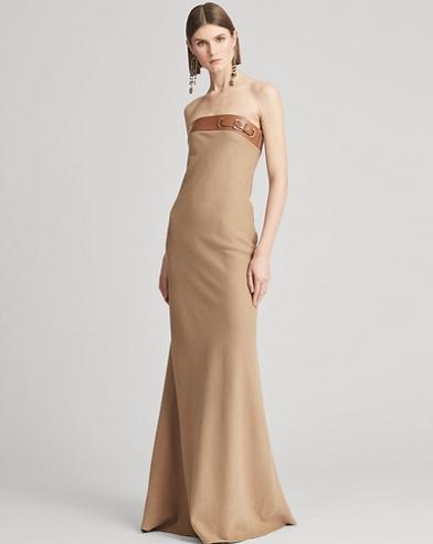 Thea Camel-Hair Evening Dress