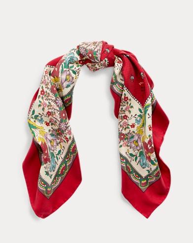Floral Silk Bandanna Scarf