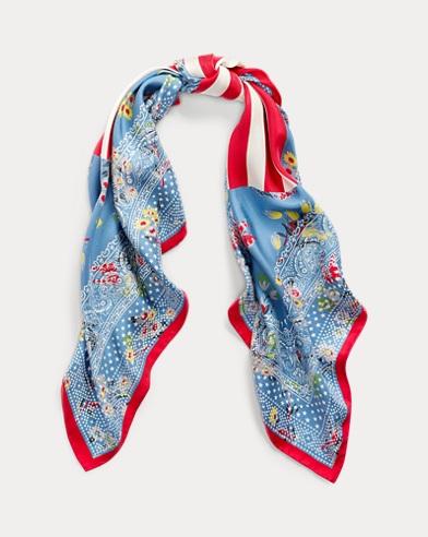 Floral Flag Silk Bandanna