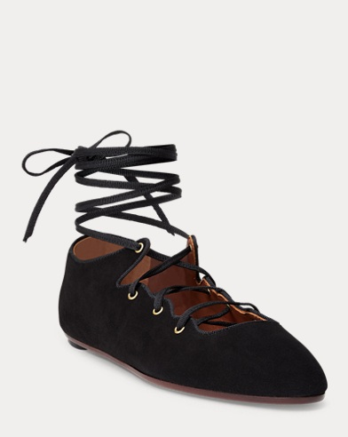 Desley Lace-Up Suede Flat