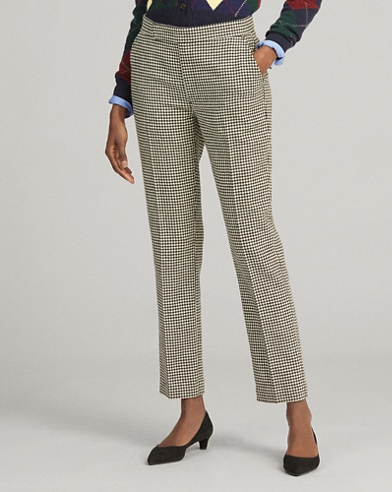Houndstooth Wool-Blend Trouser