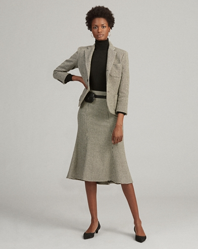 Houndstooth Wool-Blend Skirt