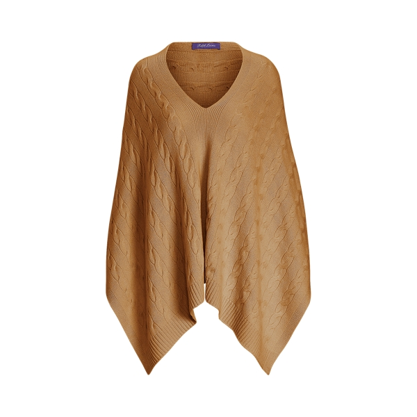 Ralph Lauren Cable Cashmere Poncho Scarf In Brown