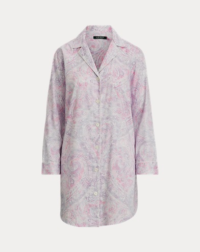 Camicia da notte in cotone con motivo cashmere