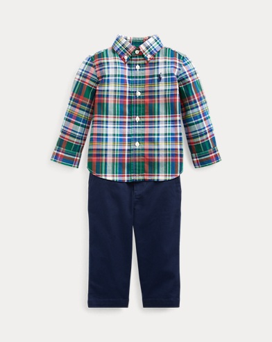 Plaid Shirt, Belt & Trouser Set