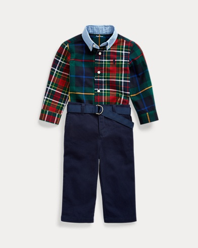Plaid Shirt & Chino Trouser Set