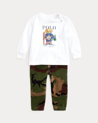 Ski Bear Tee & Camo Trouser Set