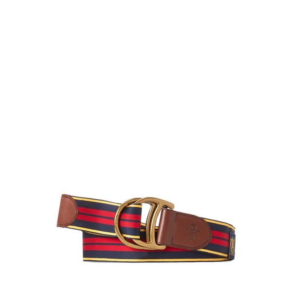 폴로 랄프로렌 Polo Ralph Lauren Equestrian Grosgrain Belt,Navy/Yellow Gold/Red