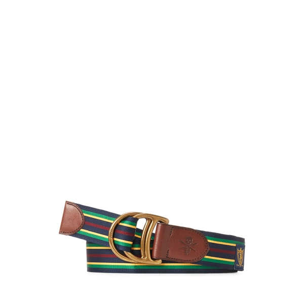 폴로 랄프로렌 Polo Ralph Lauren Equestrian Grosgrain Belt,Navy/Green/Yellow/Wine