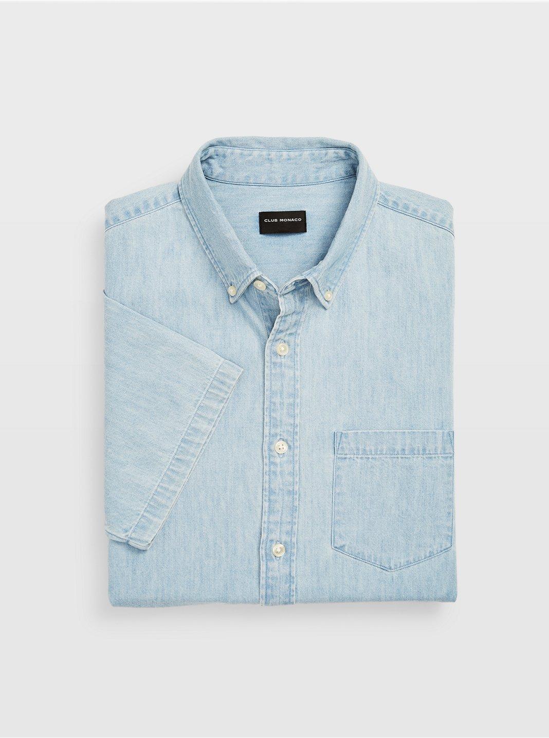 Slim Short-Sleeve Denim Shirt