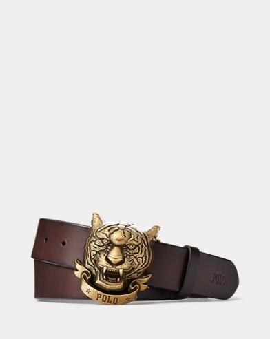 Tiger-Plaque Leather Belt