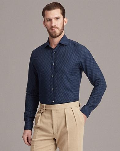 Dot-Print Brushed Twill Shirt