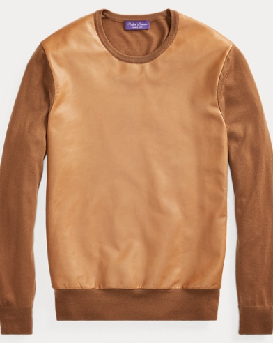 Leather-Panel Cashmere Sweater