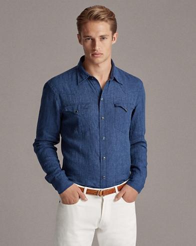 Linen Chambray Western Shirt