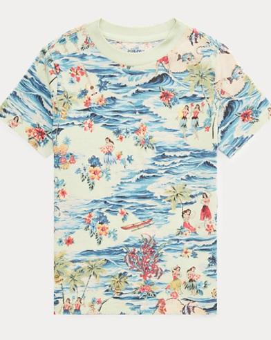 Tropical-Print Cotton Tee