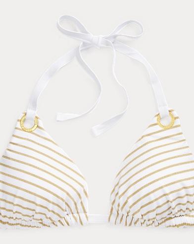Top da bikini a righe dorate
