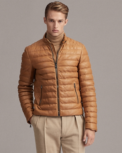 Quilted Leather Down Jacket