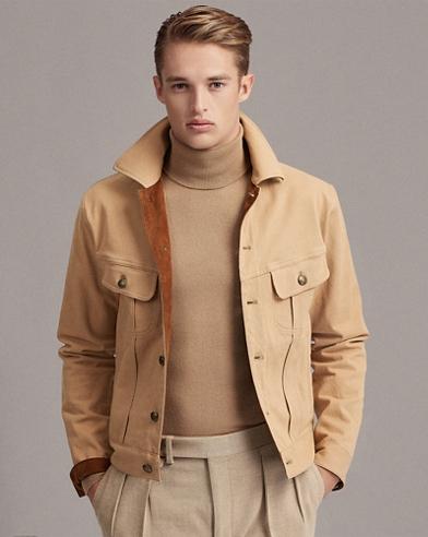 Slim Suede-Trim Denim Jacket