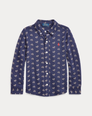 Bike-Print Knit Oxford Shirt