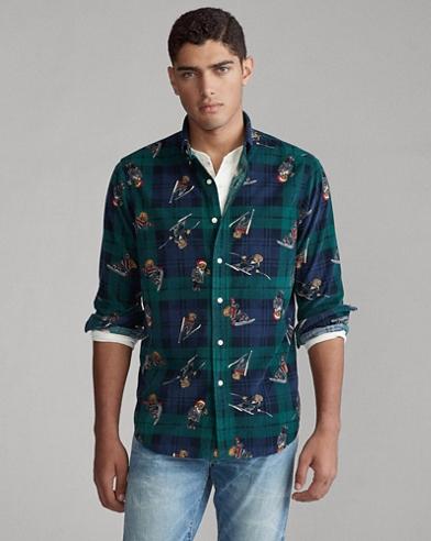 Classic Fit Plaid Bear Shirt