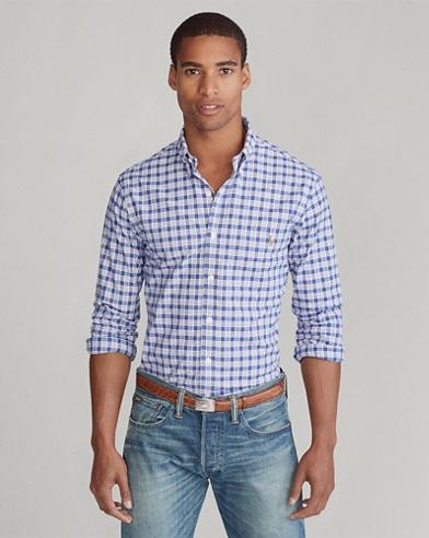 Slim Fit Plaid Stretch Shirt