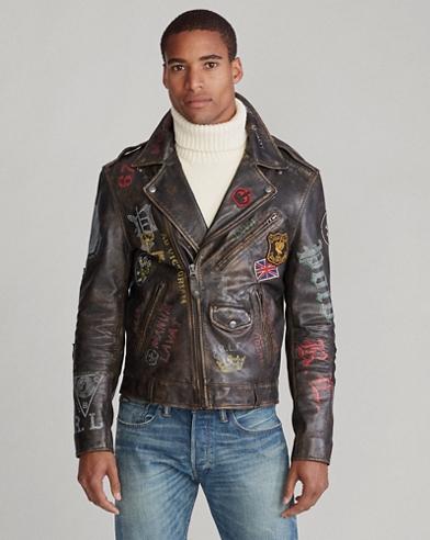 Leather Graphic Biker Jacket