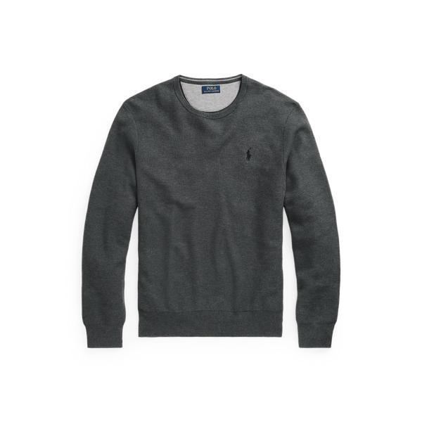 폴로 랄프로렌 맨 매쉬 니트 코튼 스웨터 Polo Ralph Lauren Mesh Knit Cotton Crewneck Sweater,Dark Grey Heather