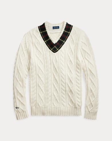 Plaid-Trim Cricket Sweater