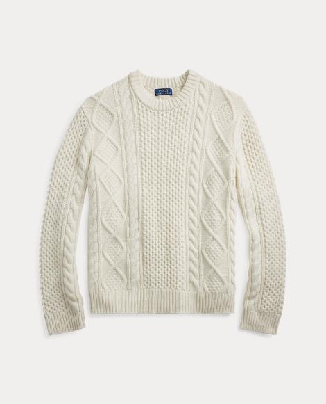 Maglia in lana e cashmere a punto Aran
