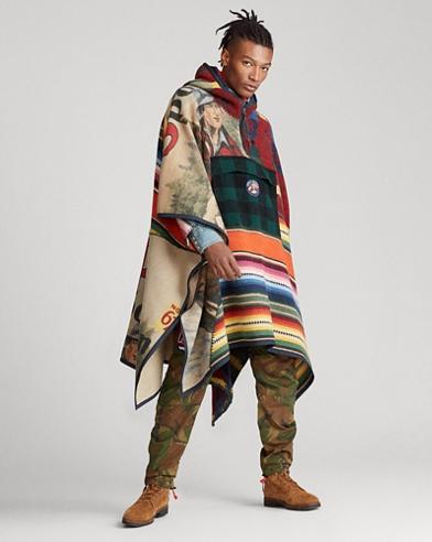 Poncho patchwork à capuche