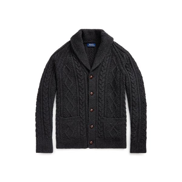 폴로 랄프로렌 맨 아란 니트 가디건 Polo Ralph Lauren Aran Knit Wool Cashmere Cardigan,Deep Black Heather