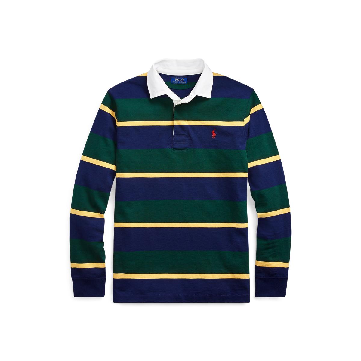 Polo Ralph Lauren Men/'s Purple Green Multi Stripe Rugby Classic Fit Polo Shirt