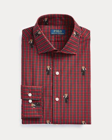 Slim Fit Plaid Bear Shirt