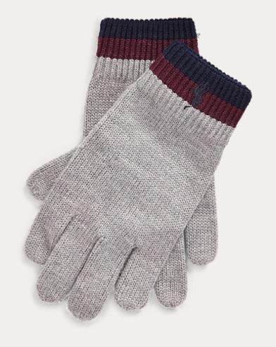 Guanti in lana merino a righe