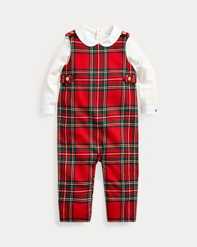 Bodysuit & Plaid Overall Set