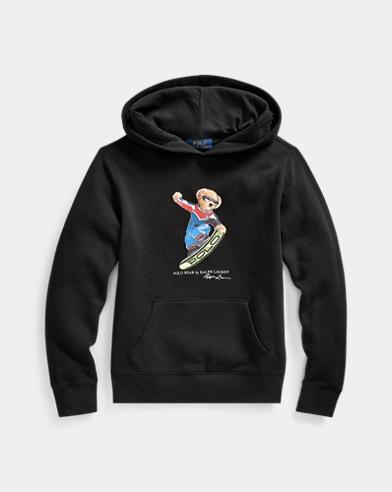 Fleece-Kapuzenshirt mit Snowboard Bear