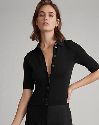 Buttoned-Placket A-Line Dress