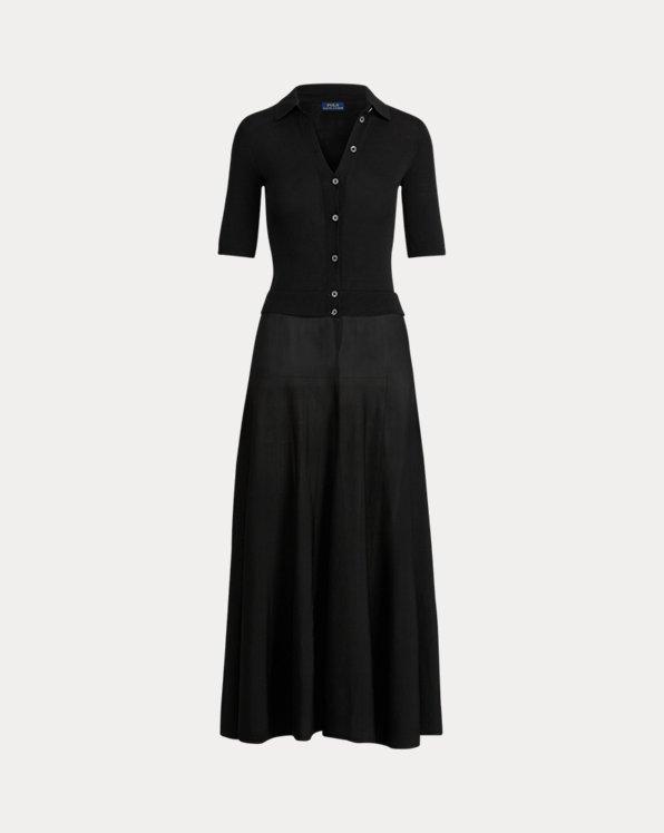 A-Linien-Kleid mit Knopfleiste
