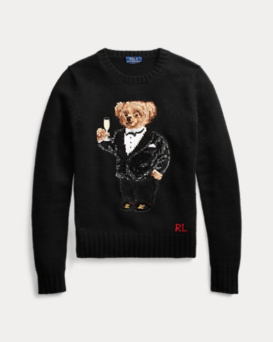 Sequined Polo Bear Sweater