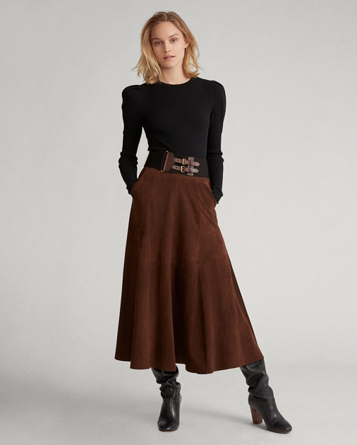 9d3d8ef5be Polo Ralph Lauren Suede Midi Skirt 1