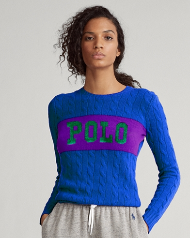 Cable-Knit Logo Jumper