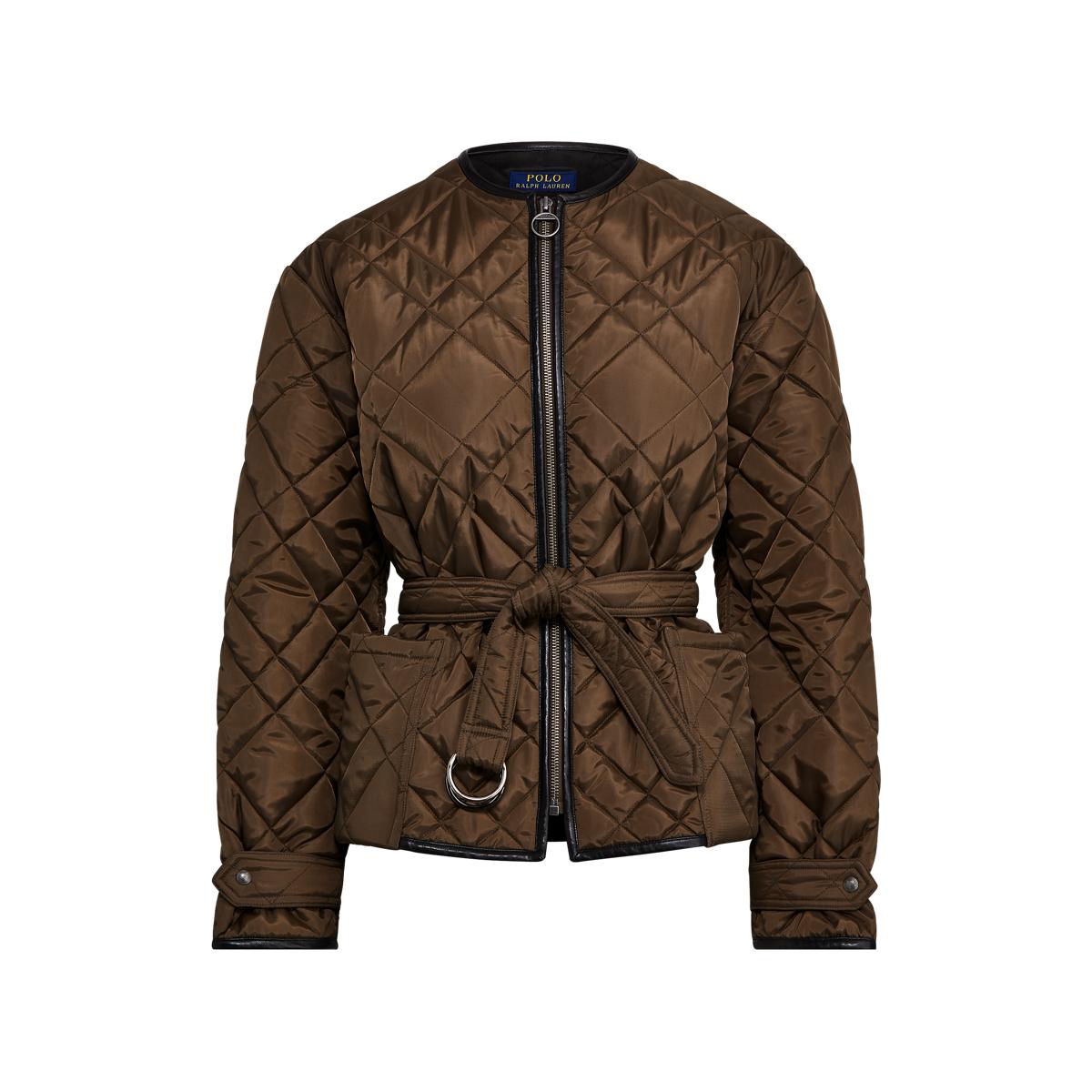 Polo Ralph Lauren Veste matelassée bordée de cuir Noir