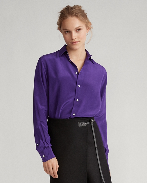 Polo Ralph Lauren Langärmliges Hemd aus Seidencrêpe 4