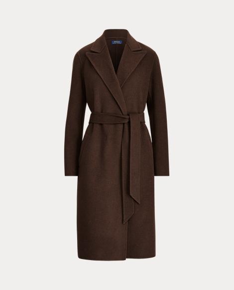 Mantel mit Wolle und Bindegürtel