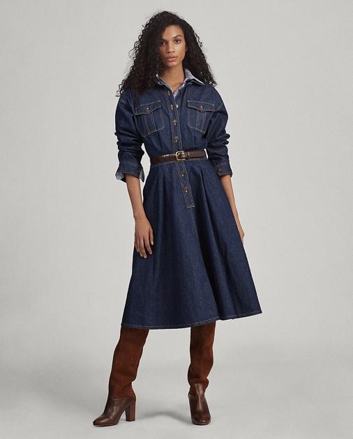 another chance genuine shoes utterly stylish Denim Long-Sleeve Shirtdress