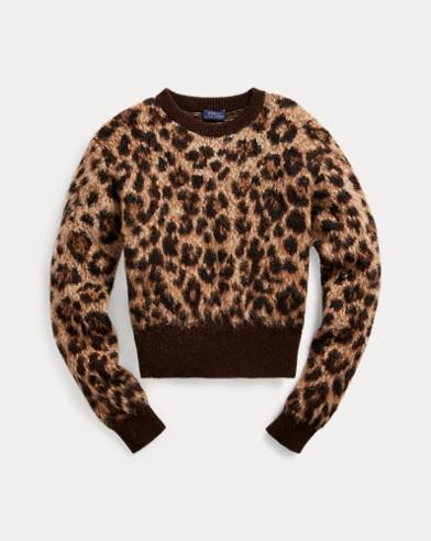 Wollpullover mit Leopardendruck