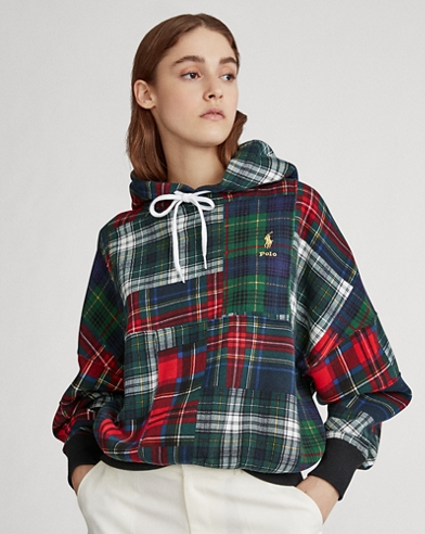 Plaid Patchwork Fleece Hoodie