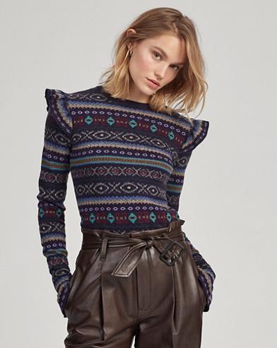 Fair Isle Ruffle-Trim Sweater
