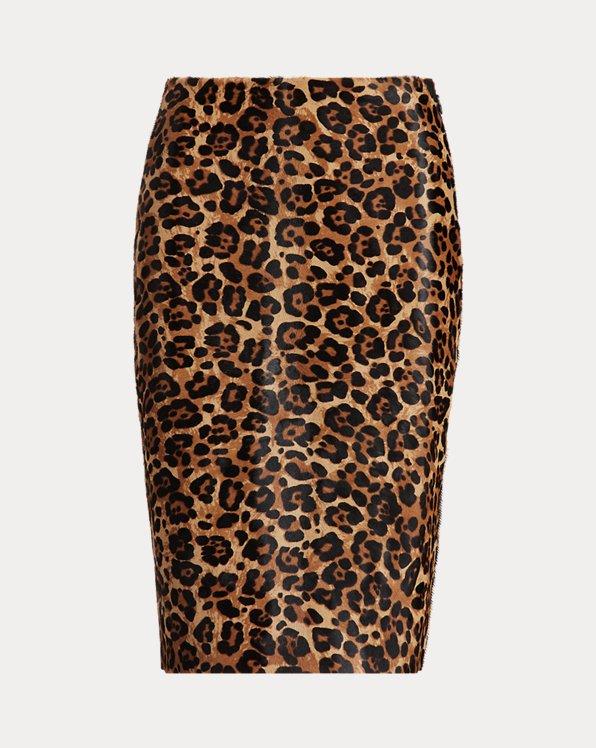 Leopard-Print Haircalf Skirt